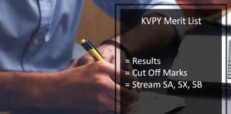 KVPY 2017 Result- Cut off Marks, Merit List (Stream SA, SB, SX) Download