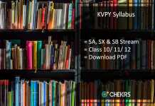 KVPY Syllabus: Download PDF of SA, SX, SB Streams for Class 10/ 11/ 12