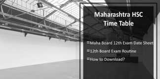 Maharashtra HSC Time Table- Maha Board 12th Exam Date Sheet