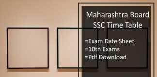 Maharashtra Board SSC Time Table- Maha 10th Exam Date Sheet