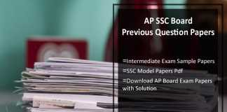 AP SSC Board Previous Question Papers- Intermediate Sample/ Model Papers