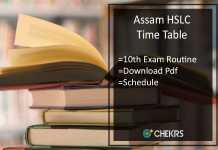 Assam HSLC Time Table- SEBA Board 10th Exam Routine/ Date Schedule
