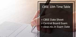 CBSE 10th Date Sheet, CBSE 10th Class Exam Time Table