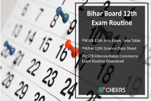 Bihar Board 12th Exam Routine- Arts, Science, Comm Time Table