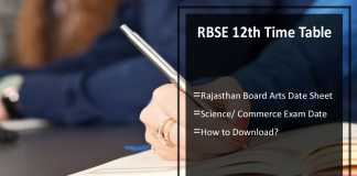 RBSE 12th Time Table- Rajasthan Board Arts, Science, Commerce