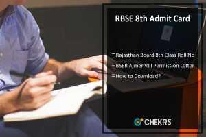 RBSE 8th Admit Card- Rajasthan board (BSER) VIII Roll No