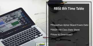 RBSE 8th Time Table- Rajasthan Ajmer Board (BSER) Exam Date