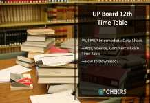 UP Board 12th Time Table- Arts, Science, Commerce Date Sheet