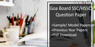 Goa Board SSC/ HSSC Question Paper - GBSHSE Sample/ Model Papers