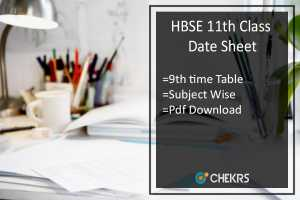 HBSE 11th Class Date Sheet- Haryana Board 9th Time Table