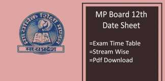 MP Board 12th Date Sheet - Commerce, Science, Arts Time Table