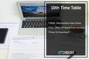 10th Time Table- RBSE, Maharashtra, CG Board, CBSE, UP Board