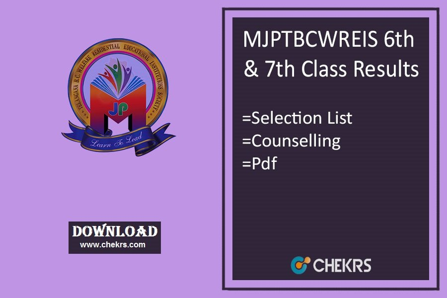 MJPTBCWREIS 6th & 7th Class Results - Selection List, Counselling