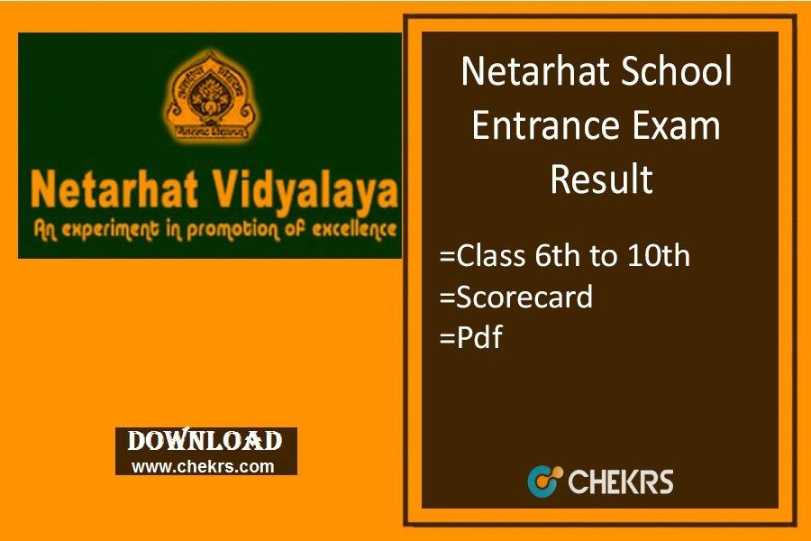 Netarhat Vidyalaya Result, 6 to 10 Class School Entrance Exam