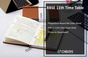 RBSE 11th Time Table- Rajasthan Board 9th Class Date Sheet