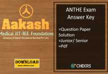 ANTHE Answer Key - Aakash Junior Senior 29th Oct Exam Pdf