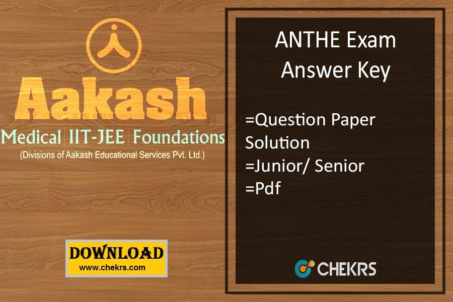 ANTHE Answer Key - Aakash Junior Senior 29th Oct Exam Pdf