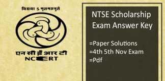 NTSE Answer Key - Stage 1 2018 Answer Sheet, 4th & 5th Nov Exam