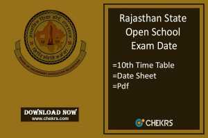 RSOS 10th Time Table- Oct/ Nov Date Sheet