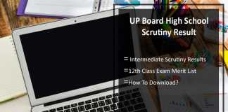 UP Board High School Scrutiny Result- Intermediate Scrutiny Results