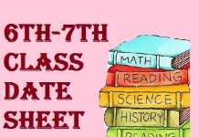 6 7th class date sheet