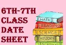 6 7th class date sheet