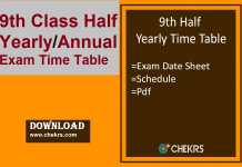 9th half yearly time table