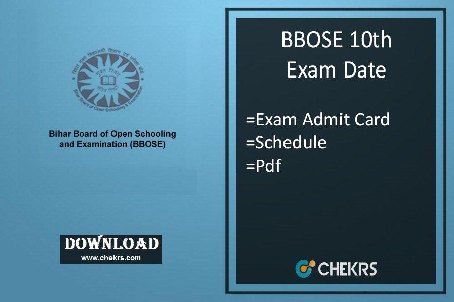 bbose 10th exam date