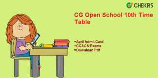 cg open school 10th time table