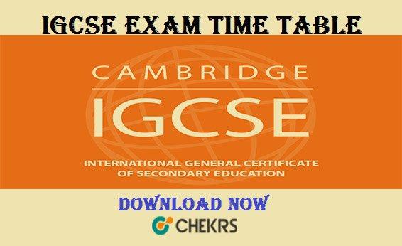 igcse exam time table