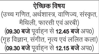 Bihar Board 10th Time Table 2018.