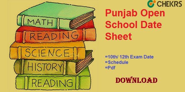 punjab open school date sheet