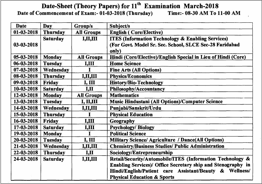 Hbse 11th class date sheet 2018 haryana board 9th time table for 9th class time table